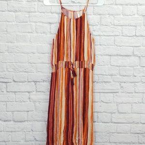 Xhilaration | Red & Orange Striped Tie Front Dress